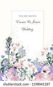 Wild flowers bouquet elegant card template. Floral poster, invite. Vector arrangements for greeting card or invitation design.