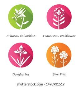 Wild flowers flat design long shadow glyph icons set. Crimson columbine, franciscan wallflower, douglas iris, blue flax. Weed, wildflowers with name inscription. Vector silhouette illustration