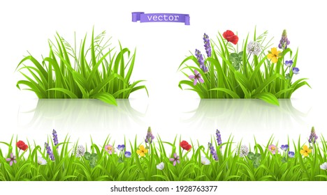 Wild flowers, forb alpine pastures. Spring grass seamless pattern 3d realistic vector