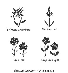 Wild flowers glyph icons set. Crimson california, mexican hat, linum, baby blue eyes. Field plants. Blooming wildflowers, weed. Spring blossom. Silhouette symbols. Vector isolated illustration
