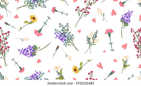 Wild flowers pattern. Spring summer print, love romantic floral vector seamless texture