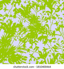 Wild flowers seamless pattern. Summer floral background made of silhouettes of herbs, stems, foliage and plants. Summer botanical ornament. Fashion design
