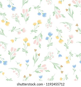 wild flowers seamless pattern vector art