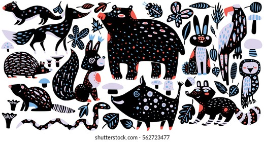 Wild forest animals - hand drawn vector illustration in cute style - bear, raccoon, fox, owl, snake and others, ornate decorative design for children's book, room, greeting card, sticker, apparel.