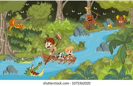 Wild forest with cartoon children on a boat. Adventure on dangerous jungle.