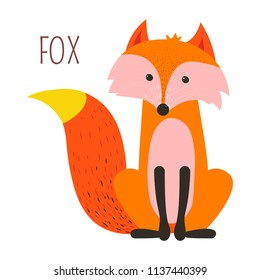 Wild forest fox childish cartoon book character