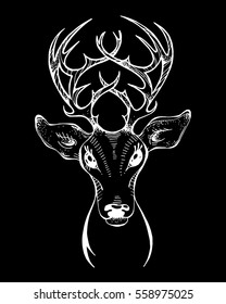 The wild forest reindeer, vector illustration for logo, mascot, totem animal, ethnic Tattoo character, emblem, badge, label,  card, isolated on black background. printing on T-shirt