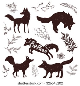 Wild fox silhouettes with lettering quote. Vintage isolated forest animals and plants vector set. Typography poster design, scrap booking floral elements, print template