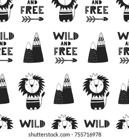 Wild and free - Cute hand drawn nursery seamless pattern in scandinavian style. Monochrome vector illustration.