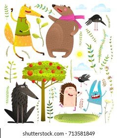 Wild Funny Forest Objects and Animals Set. Colorful watercolor style animals collection. Vector illustration.