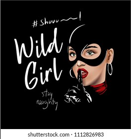 wild girl slogan with girl in black costume illustration