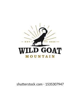 Wild goat ram silhouette logo design -  long horn wild goat farms