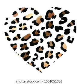 wild heart leopard. Fashion Vector illustration heart shape. Heart with lion shining print texture pattern. Black rich golden exotic panther animal skin texture. Trendy animal print. Jiraffe spots