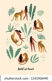 Wild at heart. Vector illustrations of woman with leopard and tropical leaves. Trendy design for card, poster, t shirt and other use.