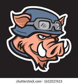 Wild hog or boar head mascot, colored version. Great for sports logos & team mascots.