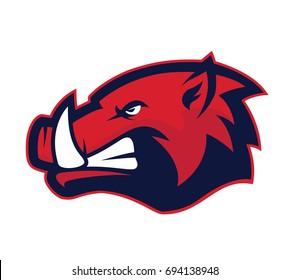 Wild hog or boar head mascot