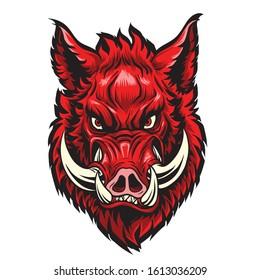 Wild hog or boar head mascot,Red boar head for tattoo