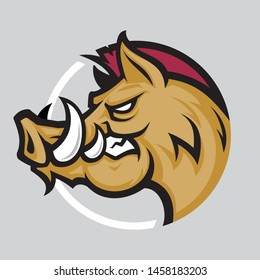 Wild hog head mascot, colored version. Great for sports logos & team mascots.
