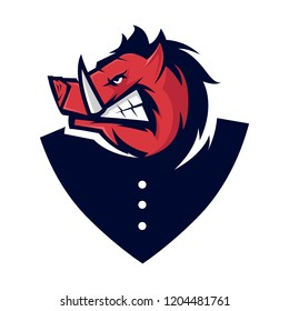 Wild Hog head Mascot logo