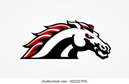 Wild horse logo. Stallion with mad eye. Mustang mascot for football or rugby team. Ardent arabic beast for race icon. Sport hack sign. Running fury trotter symbol. Tattoo design. Vector illustration