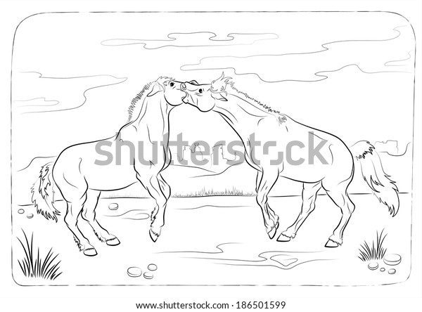 Wild Horses Coloring Book Vector Illustration Stock Vector ...