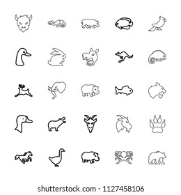 Wild icon. collection of 25 wild outline icons such as goose, hippopotamus, deer, cangaroo, horse, fish, goat, rabbit, bear, alligator. editable wild icons for web and mobile.