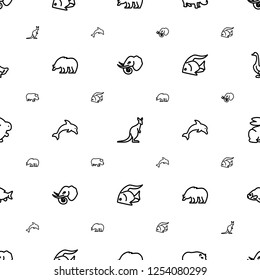 wild icons pattern seamless white background. Included editable outline elephant, cangaroo, hippopotamus, bear, dolphin, fish, rabbit, goose icons. wild icons for web and mobile.