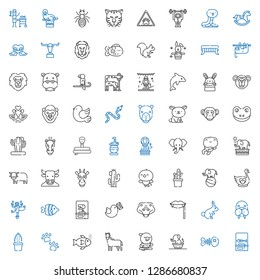 wild icons set. Collection of wild with fishbone, elephant, parrot, horse, fishes, pawprints, cactus, walrus, rabbit, fangs, crocodile, pigeon. Editable and scalable wild icons.