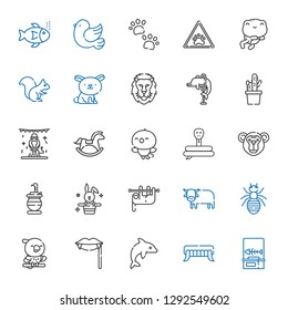 wild icons set. Collection of wild with fishbone, fangs, dolphin, parrot, ant, ox, sloth, rabbit, snake, monkey, bird, horse, animals, cactus. Editable and scalable wild icons.