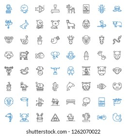 wild icons set. Collection of wild with pigeon, fishbone, cactus, elephant, paw, bunny, minotaur, dolphin, sloth, frog, fangs, chameleon, rabbit. Editable and scalable wild icons.