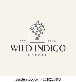 Wild Indigo Flower Botanical Logotype Vintage Hipster Illustration Icon