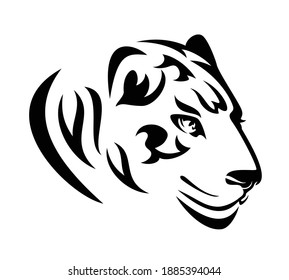 wild jaguar or tiger profile head - stylized big cat black and white vector portrait