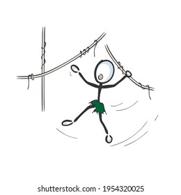 Wild jungle boy child. Feral man jumping trees vines like monkey. Vector simple. Stickman no face clipart cartoon. Hand drawn. Doodle sketch, graphic illustration