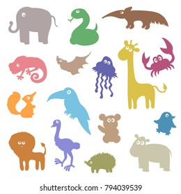 Wild Jungle forest and ocean animals set, cartoon vector silhouettes