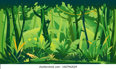 Wild jungle forest with trees, bushes and lianas, nature landscape with green jungle foliage and exotic plants growing on ground, horizontal banner with tropical plants on sunny day