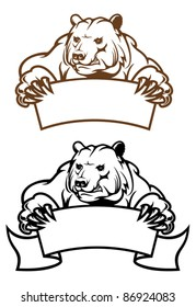 Wild kodiak bear with banner as a mascot isolated on white, such a logo. Rasterized version also available in gallery