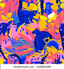 The wild lemurs sitting among the exotic plants. Abstract vector seamless pattern drawn in the technique of rough brush in vivid colors