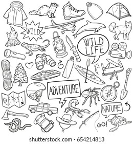 Wild Life Adventure Sport Doodle Icons Sketch Hand Made