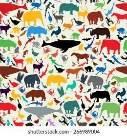 Wild life animal silhouettes  seamless pattern design in retro style colors