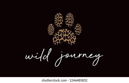 Wild life leopard texture. leopard paw on black background. leopard t-shirt design fashion. vector