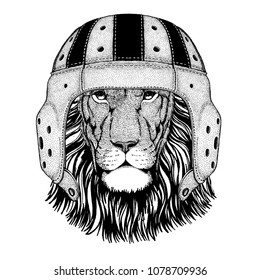 Wild lion Cool animal wearing rugby helmet Extreme sport game