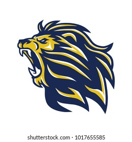 Wild Lion Head Mascot Roaring Vector Logo