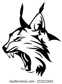 wild lynx head mascot - black and white animal vector design