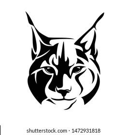 wild lynx looking straight forward - bobcat en face head black and white vector design