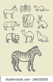 Wild, mammal, and farm animal sketches. Good use for symbol, icon, mascot, doodle design, or any design you want. Easy to use or change color.