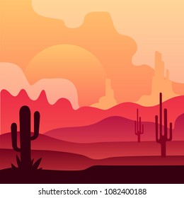 Wild Mexican desert landscape with cactus plants and beautiful sunset. Natural scenery. Vector design in gradient colors