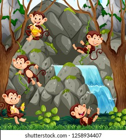 Wild monkey in nature illustration