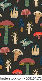 Wild mushroom illustration. Seamless pattern on dark background. Modern nature plants vector pattern
