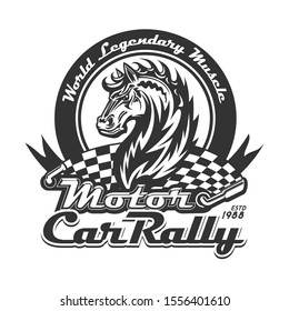 Wild mustang with racing flag, flaming mane and hand lettering. Motorsport, motocross or rally. Car racing or motor sport t-shirt print vector design