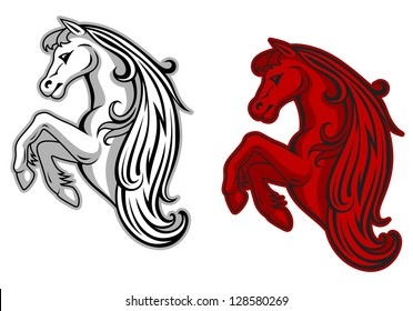 Wild mustang in white and red color for mascot design. Jpeg version also available in gallery